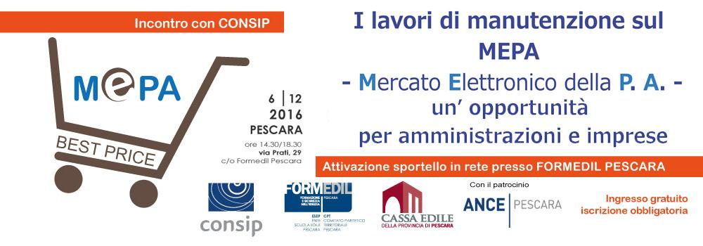 """Seminario Informativo """"Lavori di Manutenzione sul MEPA (Mercato Elettronico della Pubblica Amministrazione): un'opportunità per amministrazioni e imprese"""" ."""