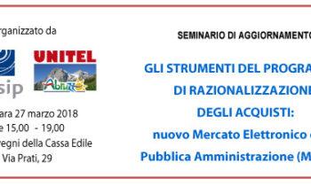 Seminario di aggiornamento CONSIP del 27 marzo 2018 sul MePA (Mercato Elettrico della Pubblica Amministrazione)
