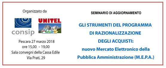 Seminario di aggiornamento CONSIP del 27 marzo 2018 sul MePA (Mercato Elettronico della Pubblica Amministrazione)