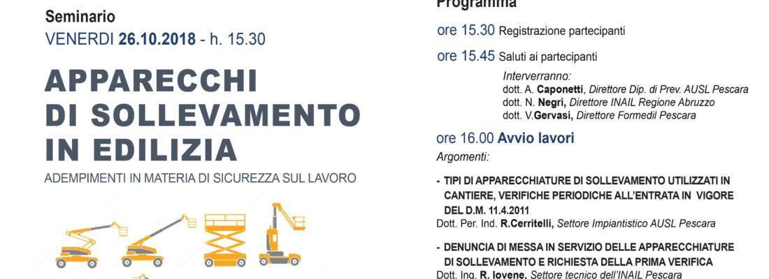 """Seminario del 26.10.2018 – """"Apparecchi di sollevamento in edilizia"""""""