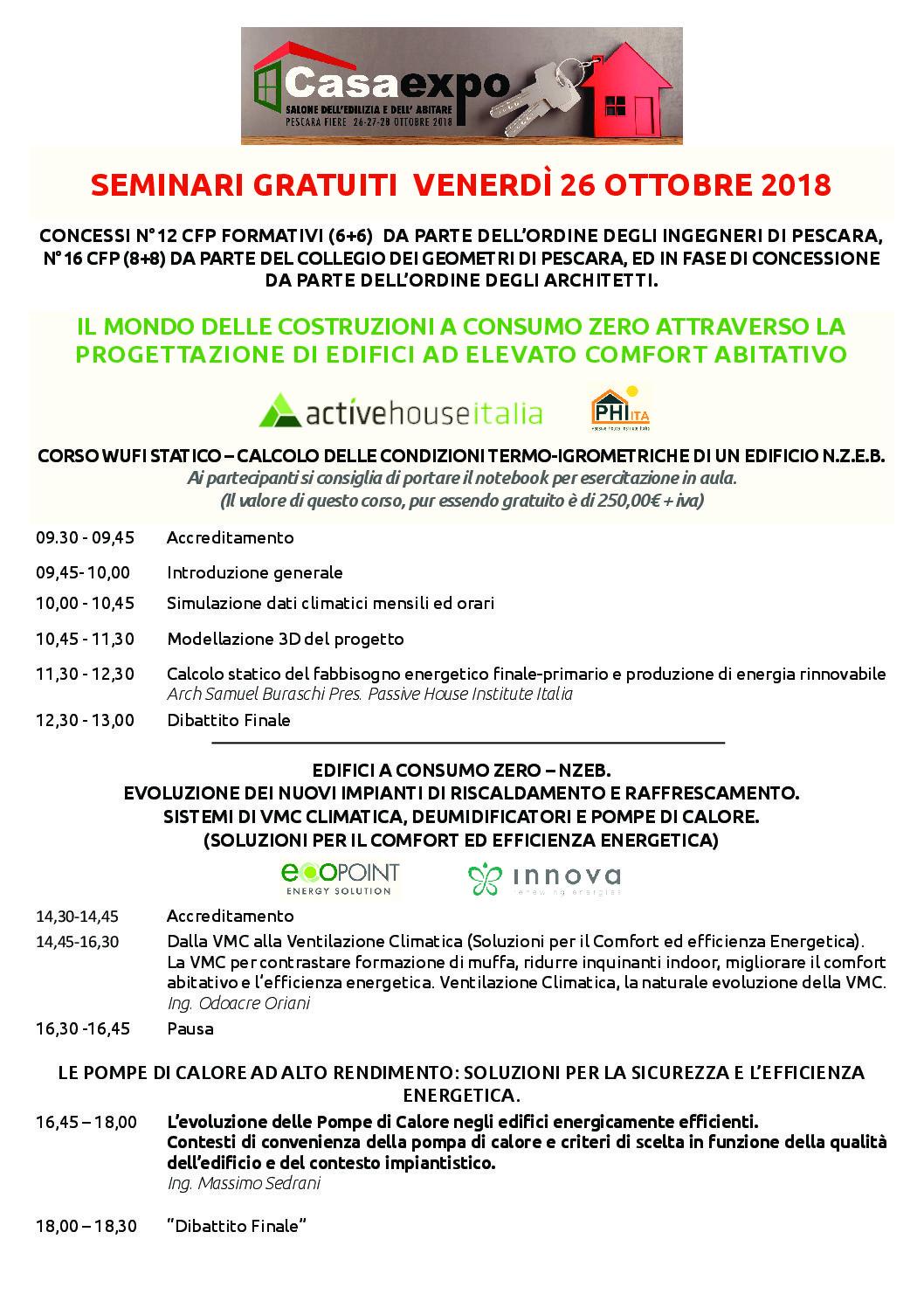 Casa Expo Pescara 26 – 27 -28 Ottobre 2018