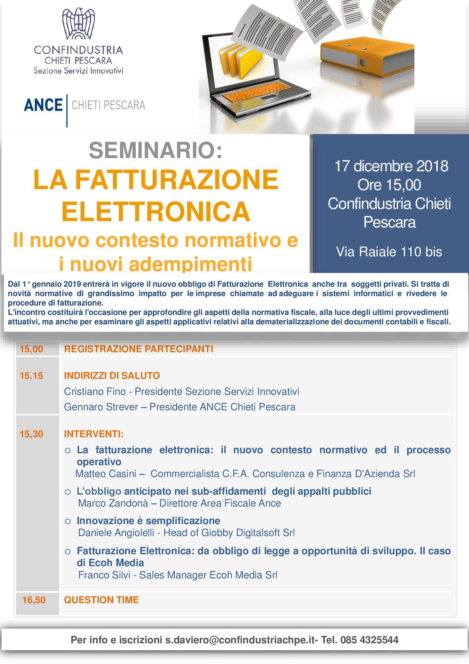 Fatturazione elettronica – Seminario 17 dicembre ore 15,00 presso Confindustria Chieti Pescara